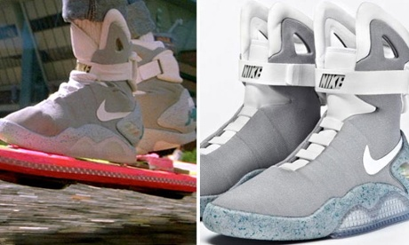 Marty McFly's self-tying shoes, as seen in Back to the Future II (left) and Nike's real-life version